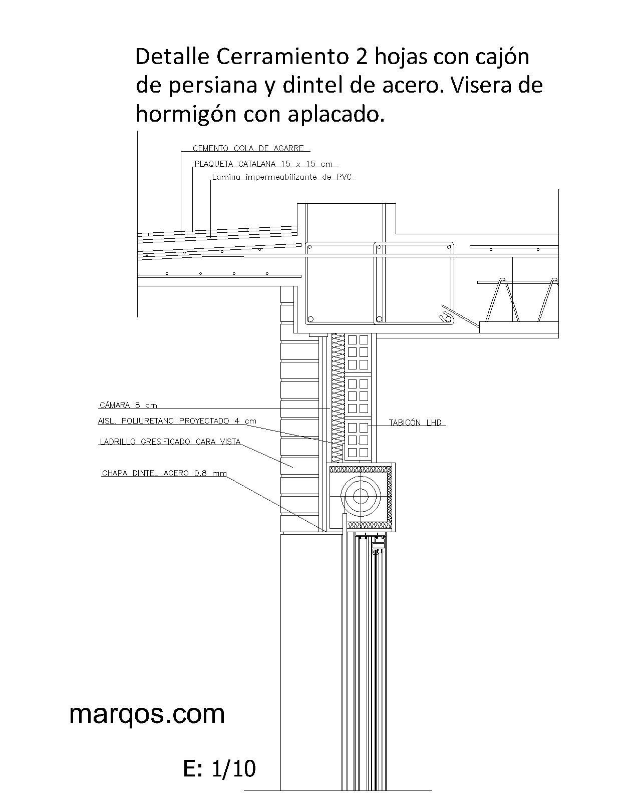 Marqos cerramiento 2 hojas con caj n de persiana y - Dimensiones ladrillo cara vista ...