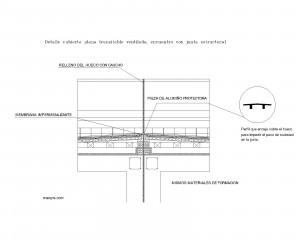Cubierta plana transitable ventilada, encuentro con junta estructural