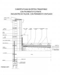 Cubierta plana invertida transitable con pavimento flotante y encuentro con paramento ventilado